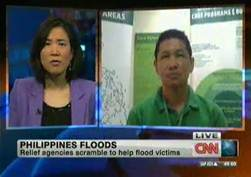 ChildFund's Mark Dasco does a Skype interview with CNN International after last year's tsunami in The Philippines.