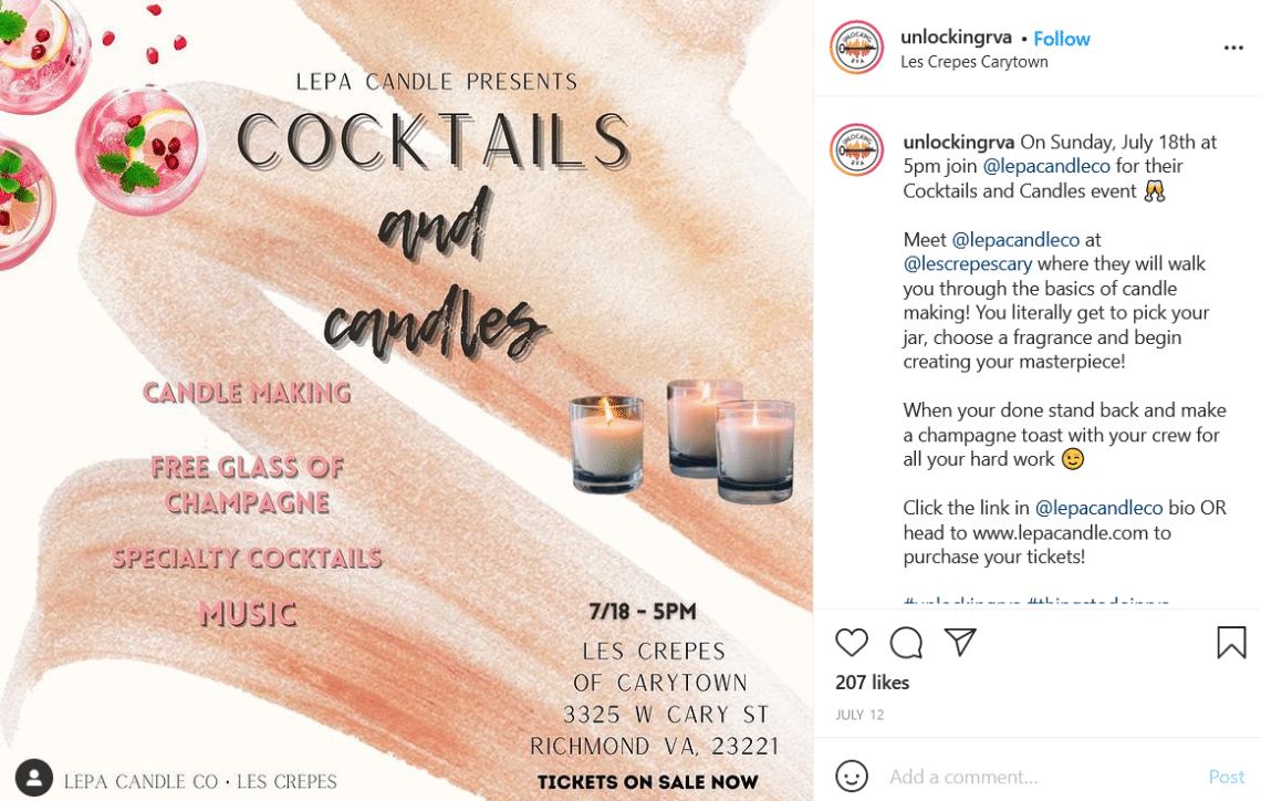 Screenshot of unlockingrva Instagram post promoting Lepa Candle's event at Les Crepes.